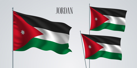Jordan waving flag set of vector illustration