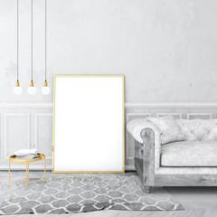 mock up poster frame in vintage interior with old plaster wall and velvet sofa, grey carpet on old wooden floor. 3d render