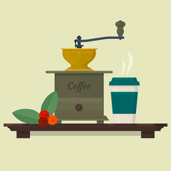 Coffee set with coffee mill, beans and cup. Isolated vector objects. Vector illustration