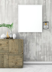 mock up poster frame on old concrete wall. vintage interior with white floor and brown commode. 3d render