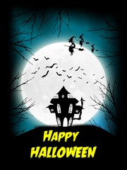 halloween house and moon