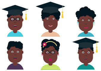 African american children, students. Graduation class. School Boys and Girls, vector illustration. Graduation students, vector set.