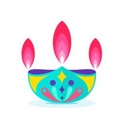 Diwali festival icon flat design. cute color diwali lamp vector.