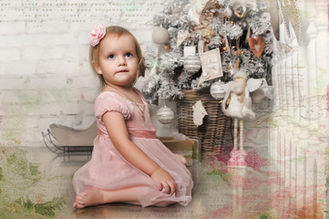 Little girl in a pink dress in retro Christmas interior.