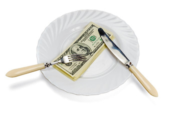 Eating money corruption concept