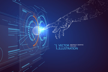 Click the virtual screen, science fiction scene.
