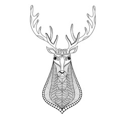 Deer head zentangle stylized for adult coloring book page.vector illustration.