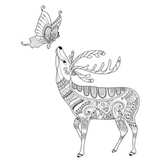 Deer and butterfly zentangle for adult coloring book page.vector illustration.