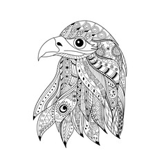 Hand drawn zentangle eagle head for adult and children coloring book page.vector illustration.