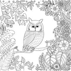 Coloring book page of owl in forest for adult.vector stock.Hand drawn.zentangle stylized.