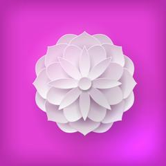 Paper volume flower light background. Paper volume flower on a pink background for designers and illustrators. A bulk plant in the form of vector illustration