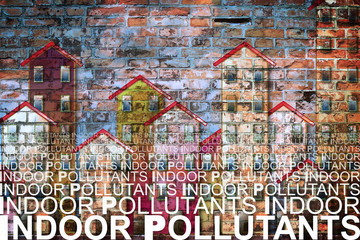 Indoor air pollutants against a buildings background - concetp image with copy space
