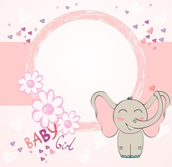 Cute hand drawn frame with cartoon elephant
