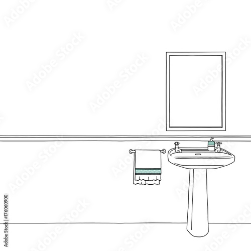 mirror frame drawing. Sketch Drawing Blank Mirror Frame Sink Bath C