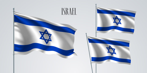Israel waving flag set of vector illustration
