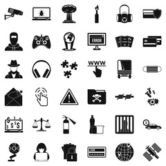 Hacking icons set, simple style