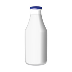 Traditional glass milk bottle isolated on white background2