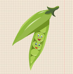 a leaf of a notebook, a drawing of peas, a character