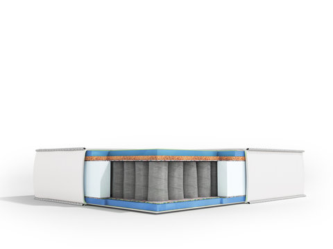 Modern white orthopedic mattress in section with blue filler 3d render on white background