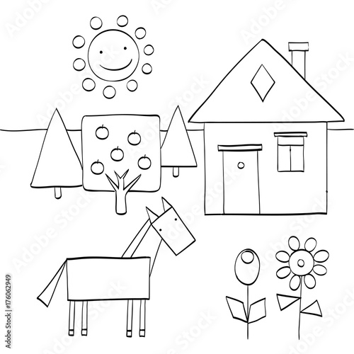 coloring page for children to find geometric shapes in nature house trees sun horse and. Black Bedroom Furniture Sets. Home Design Ideas