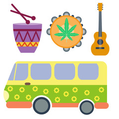 Campers vacation travel car and rastafarian music holiday trailer house vector illustration flat transport