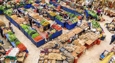 Top view of popular Melike Hatun Bazaar or kadinlar pazari(Women Bazaar) that is a traditional Turkish grocery bazaar where people buy Vegetables, fruits and spices in Konya,Turkey.28 August 2017