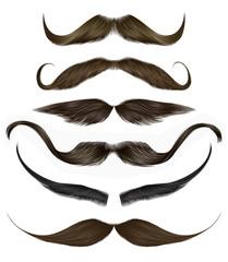 set vector mustache different colors.