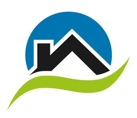 Logo maison bleu et vert