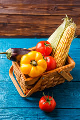 Image of basket with autumn vegetables