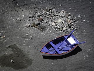 Little blue rowing boat