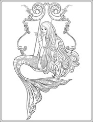 Hand drew mermaid with long hair. Stock line vector illustration