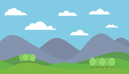Cartoon colorful vector flat illustration of mountain landscape with meadow and trees under blue sky