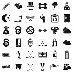 Bodybuilding icons set, simple style