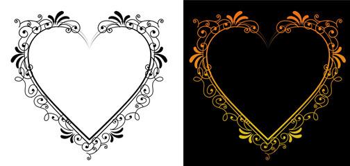 ハート形のバロック調の飾り罫|飾り囲み 背景 ベクターデータ vector data|antique Baroque ornament