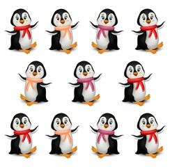 Happy Penguins pattern cartoon Vector isolated on white background