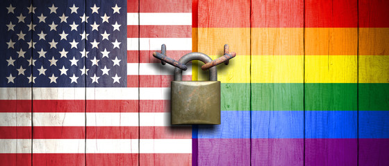 Rainbow flag and USA flag on wooden door with padlock. 3d illustration