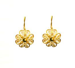 female Golden Eastern Turkish vintage women's handmade jewelry on a white background.earrings,