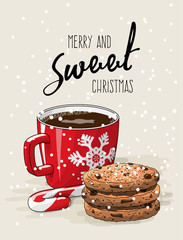 Christmas theme, red cup of coffee with red ribbon and stack of cookies an candy cane, illustration