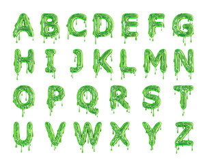 Green dripping slime halloween alphabet letters. 3D Rendering