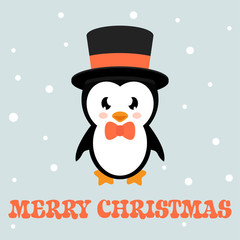 cartoon penguin with text and hat