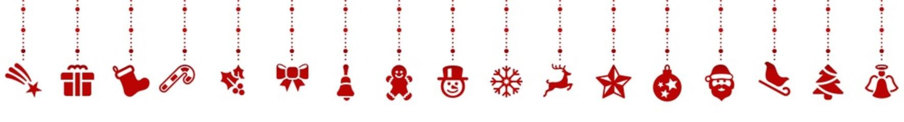 Wall Mural - Rot Weihnachten Elemente Dekoration Panorama Hintergrund