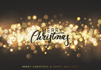 Christmas background with golden lights bokeh. Xmas greeting card. Magic holiday poster, banner. Night bright gold sparkles background