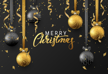 Christmas background with shining gold ball, serpentine and confetti. Lettering Merry Christmas card vector Illustration.
