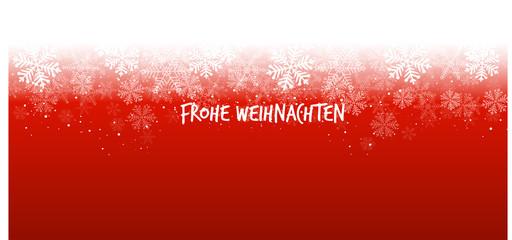 Wall Mural - Roter Hintergrund Schneeflocken Frohe Weihnachten