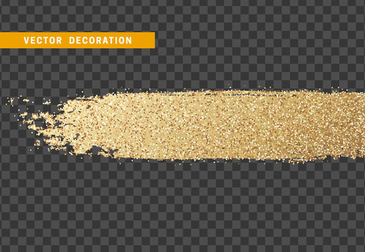 Brush stroke gold glitter. Isolated object with background with transparency effect