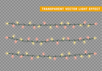 Christmas lights isolated realistic design. Lights garlands color yellow and red. Glowing Xmas decorations.