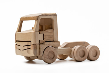 Cabin of  wooden toy truck without  trailer.
