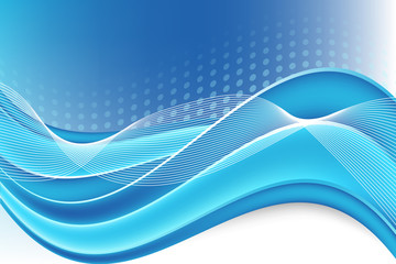 Beautiful abstract blue background with waves