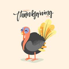 Cartoon Turkey bird. Happy Thanksgiving Celebration. Funny character turkey