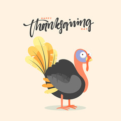 Cartoon Turkey bird. Happy Thanksgiving Celebration. Funny character turkey